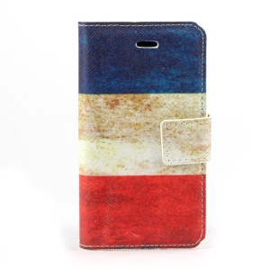 Retro French Flag Leather Card Holder Cover w/ Stand for iPhone 4s 4