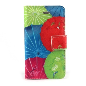 Colorful Umbrellas PU Leather Stand Case for iPhone 4s 4