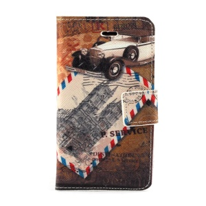 Retro Car & Postmark Leather Stand Cover w/ Card Slots for iPhone 4s 4