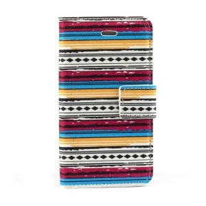 Tribe Stripes PU Leather Case w/ Stand for iPhone 4s 4