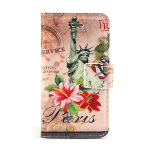 Statue of Liberty & Flowers Stand Leather Case w/ Card Slots for iPhone 4s 4