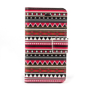 Tribe Geometric Pattern Leather Stand Case w/ Card Slots for iPhone 4s 4