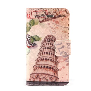 Leaning Tower of Pisa Leather Card Holder Case w/ Stand for iPhone 4s 4