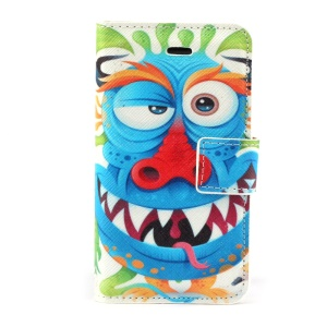 Adorable Blue Cartoon Leather Stand Case w/ Card Slots for iPhone 4s 4