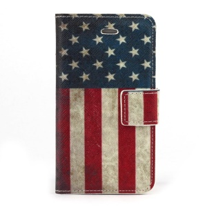 Retro USA American Flag Leather Stand Case Accessory for iPhone 4s 4