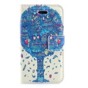 Blue Cartoon Tree Leather Stand Case w/ Card Slots for iPhone 4s 4