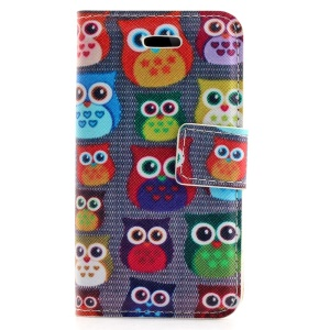 Multiple Owls Leather Stand Cover w/ Card Slots for iPhone 4s 4