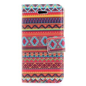 Tribe Geometric Pattern Magnetic Leather Stand Cover for iPhone 4s 4