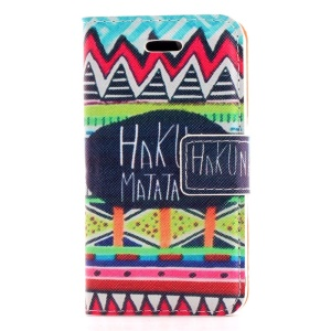 HAKUNA MATATA & Tribal Pattern Stand Leather Magnetic Case for iPhone 4s 4