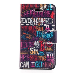 Colorized Alphabets Stand Leather Magnetic Cover for iPhone 4s 4