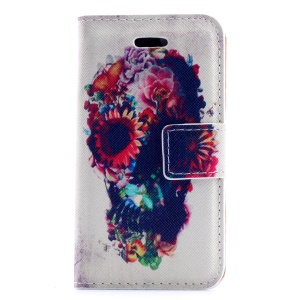 Flowered Skull PU Leather Stand Cover for iPhone 4s 4