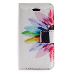 Colorized Flowers Leather Card Holder Cover for iPhone 4s 4
