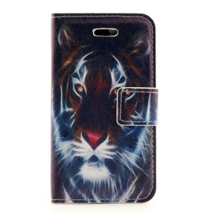 Fierce Tiger Stand Leather Card Holder Case for iPhone 4s 4