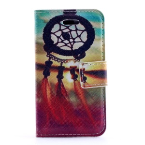 Sunset Dream Catcher Leather Stand Case w/ Card Slots for iPhone 4s 4
