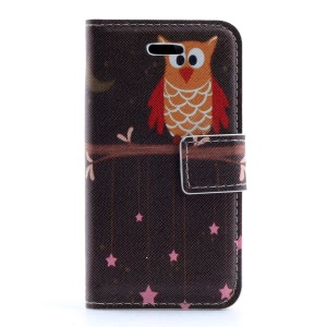 Cute Owl on the Branch PU Leather Magnetic Case w/ Stand for iPhone 4s 4