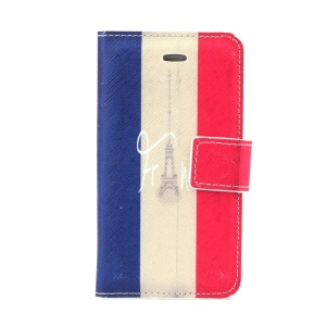 French Flag & Eiffel Tower Stand Leather Case w/ Card Slots for iPhone 4s 4
