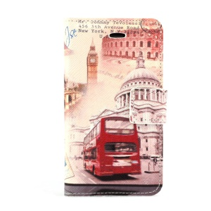 Big Ben & Red Bus Leather Case w/ Stand for iPhone 4s 4