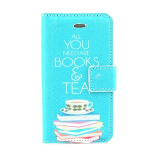 All You Need are Books & Tea Pattern Leather Stand Cover w/ Card Slots for iPhone 4s 4