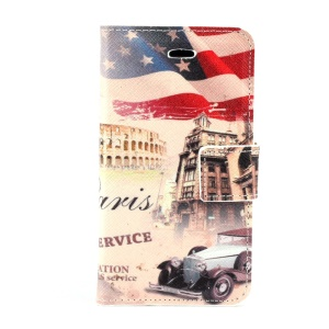 USA American Flag & Retro Car Leather Stand Case w/ Card Slots for iPhone 4s 4