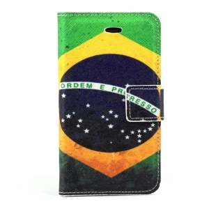 Brazilian Flag PU Leather Magnetic Cover w/ Stand for iPhone 4s 4