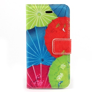Colorized Umbrellas Leather Magnetic Case w/ Stand for iPhone 5c