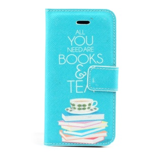All You Need are Books & Tea Pattern Magnetic Leather Stand Cover for iPhone 5c