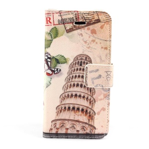 Leaning Tower of Pisa Stand Leather Magnetic Case for iPhone 5c