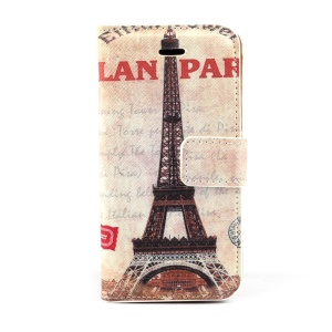 Famous Eiffel Tower Stand Leather Magnetic Cover for iPhone 5c