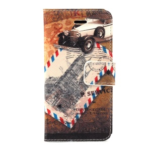 Retro Car & Postmark Leather Magnetic Cover w/ Card Slots for iPhone 5c