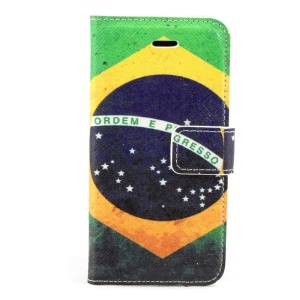 Brazilian Flag Leather Stand Case Accessory for iPhone 5c