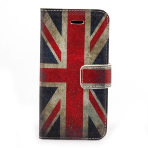 Retro Union Jack Flag Stand Leather Card Holder Case for iPhone 5c