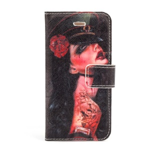 Sexy Tattoo Rose Girl Magnetic Folio PU Leather Stand Case for iPhone 5s 5