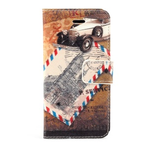 Car & Stamp Magnetic Folio PU Leather Stand Case for iPhone 5s 5