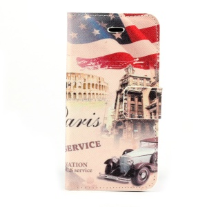 USA Flag & Retro Car Magnetic Folio PU Leather Stand Cover for iPhone 5s 5