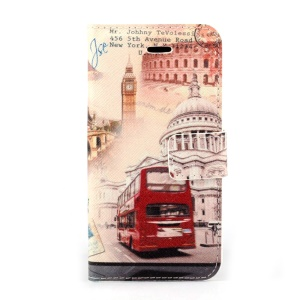Big Ben & Red Bus Magnetic Folio PU Leather Stand Case w/ Card Holder for iPhone 5s 5