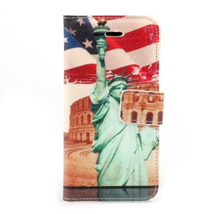 The Statue of Liberty Stand Card Holder PU Leather Shell for iPhone 5s 5