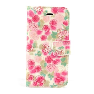 Beautiful Flowers Stand Card Holder PU Leather Shell for iPhone 5s 5