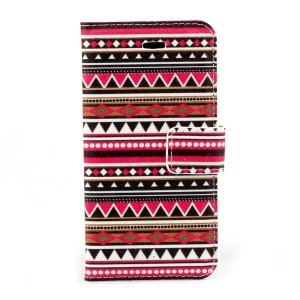 Tribal Geometric Pattern Magnetic Folio PU Leather Stand Case for iPhone 5s 5