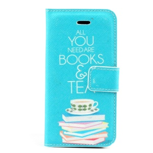 All You Need Are Books & Tea PU Leather Stand Cover w/ Card Holder for iPhone 5s 5