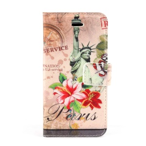 Statue of Liberty & Flower Magnetic Folio PU Leather Stand Case w/ Card Holder for iPhone 5s 5