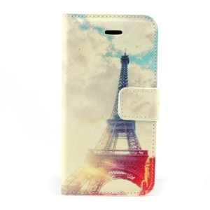 Fashion Eiffel Tower Magnetic Folio PU Leather Stand Shell w/ Card Holder for iPhone 5s 5
