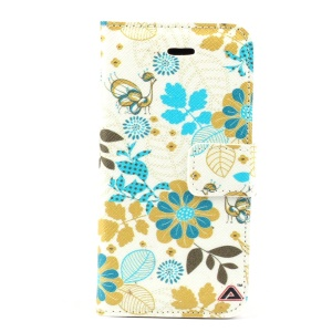 Flower & Leaf Magnetic Folio PU Leather Stand Case for iPhone 5s 5
