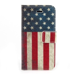 Retro USA Flag Magnetic Folio PU Leather Stand Case Shell for iPhone 5s 5