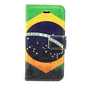 Brazil Flag Magnetic Folio PU Leather Stand Case for iPhone 5s 5