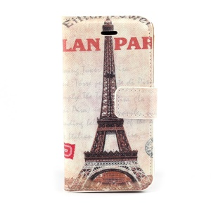 Retro Eiffel Tower Magnetic Folio PU Leather Stand Case for iPhone 5s 5