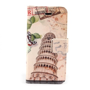 Retro Tower Building Magnetic Folio PU Leather Stand Case for iPhone 5s 5