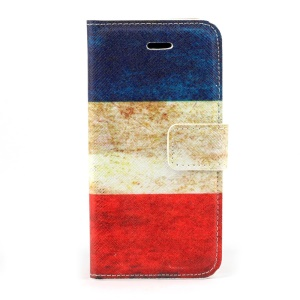 Retro French Flag Magnetic Folio PU Leather Stand Cover for iPhone 5s 5