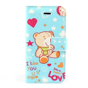 Cute Bear Magnetic Folio PU Leather Stand Shell w/ Card Slot for iPhone 5s 5