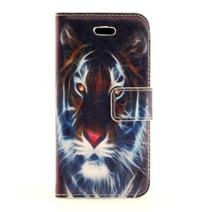 Fierce Tiger Leather Magnetic Case w/ Card Slots for iPhone 5s 5