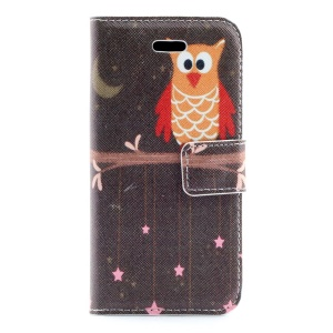 Cute Owl on the Branch Leather Magnetic Cover w/ Card Slots for iPhone 5s 5